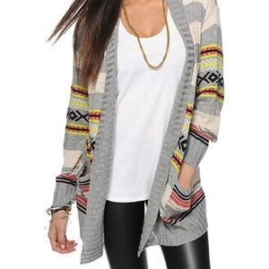 Eye Shadow Stripe Tribal Cardigan Sweater Medium
